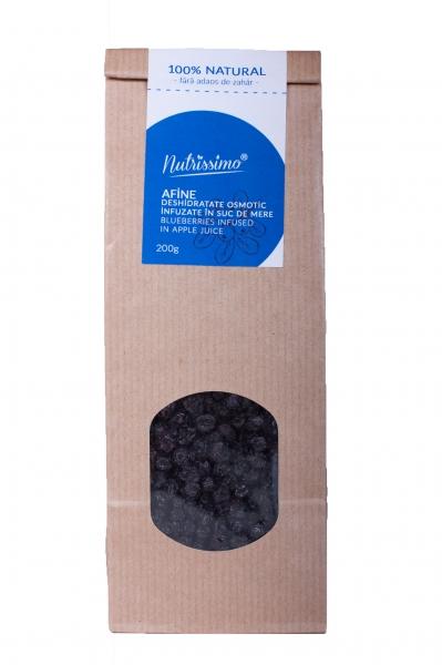 Afine infuzate in suc de mere - fara zahar - 200 g - 0