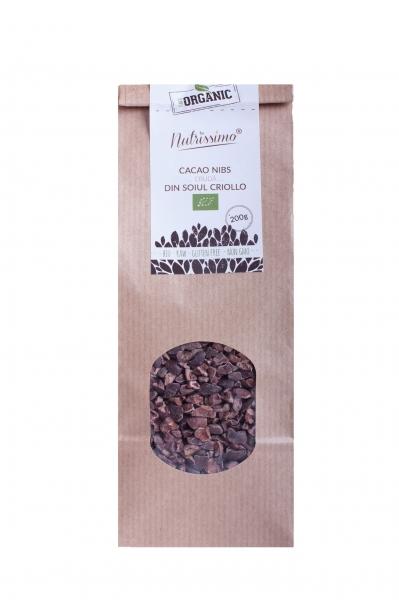 Cocoa Nibs (Miez Boabe De Cacao) cruda Criollo ECO 200 g 0